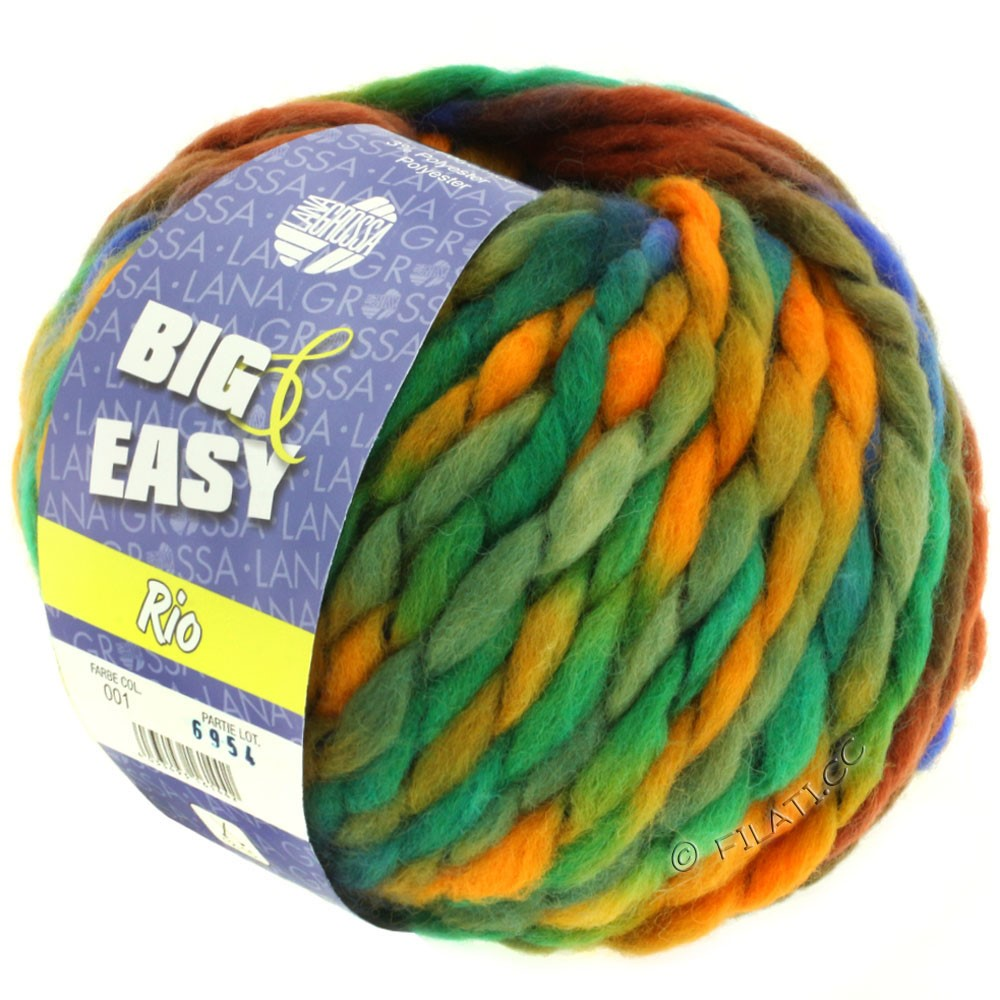 Lana Grossa RIO (Big & Easy)   01-королевский/петроль/натуральный/коричневый/хаки