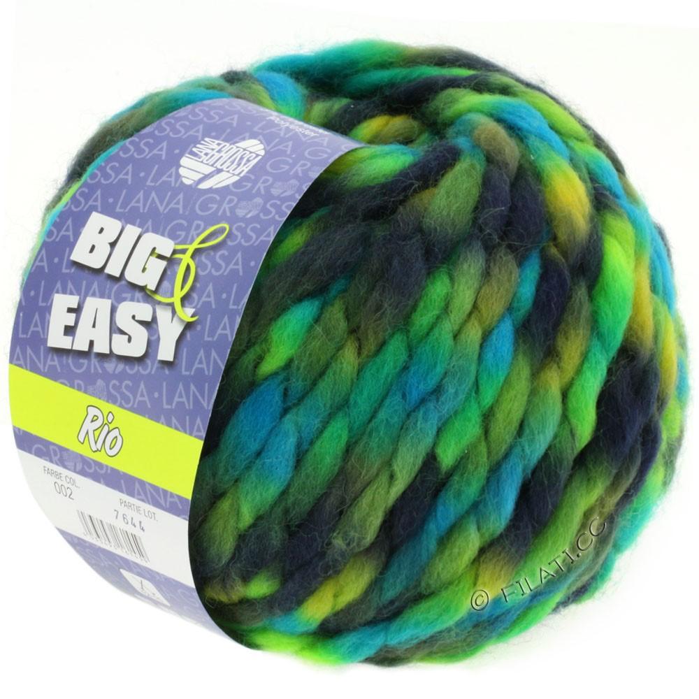 Lana Grossa RIO (Big & Easy) | 02-тёмно-синий /светло-зелёный/петроль/бирюзовый