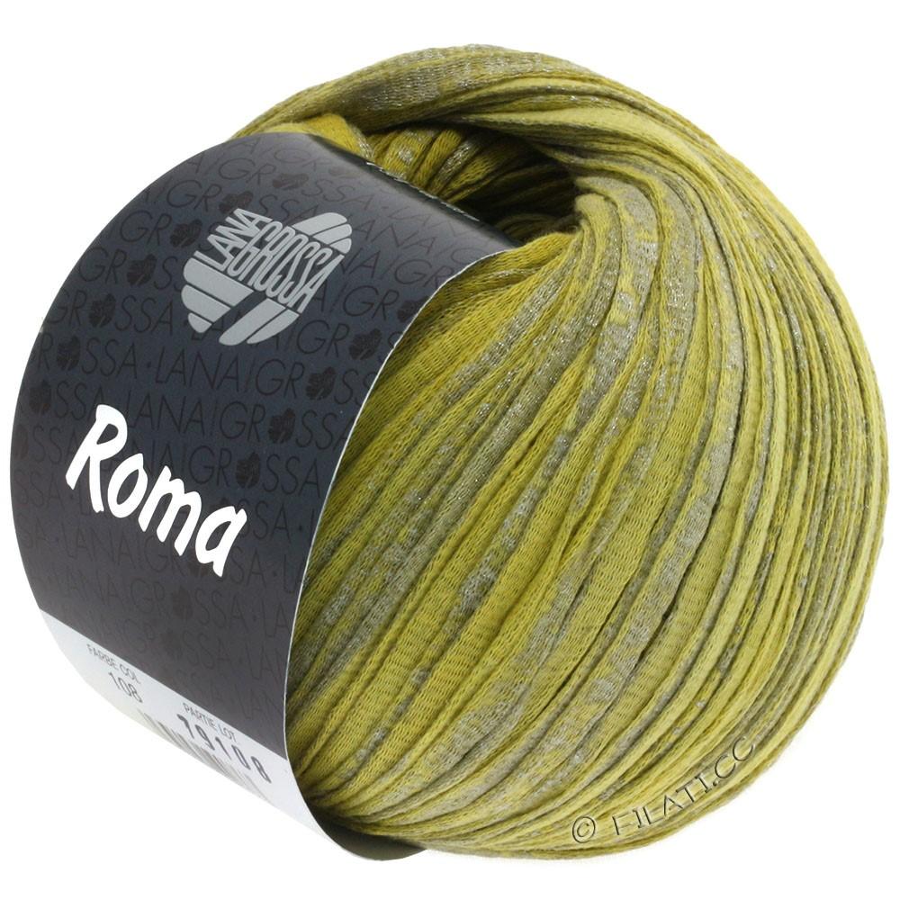 Lana Grossa ROMA | 108-лайм/горчично-желтый/серебряный