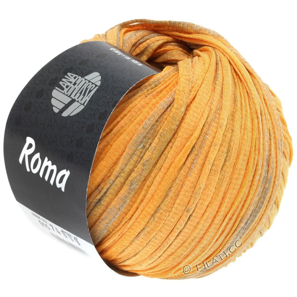 Lana Grossa ROMA | 018-шафранный/серебряный/золотой