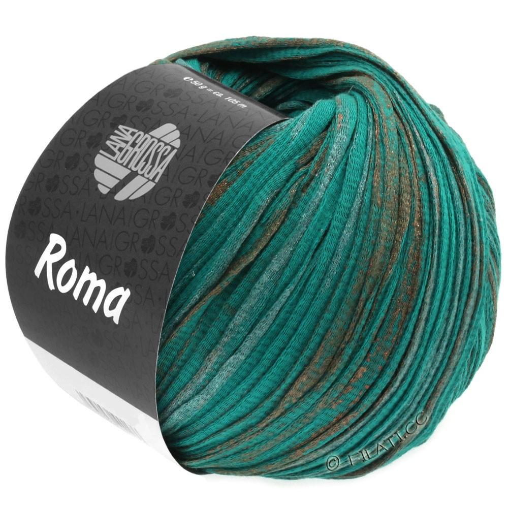 Lana Grossa ROMA | 027-зеленый опал /медь/серебряный