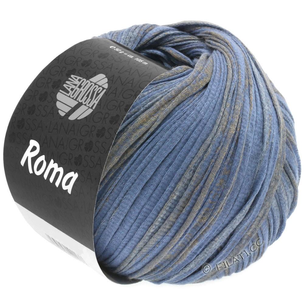 Lana Grossa ROMA | 032-синяя фиалка/золотой/серебряный