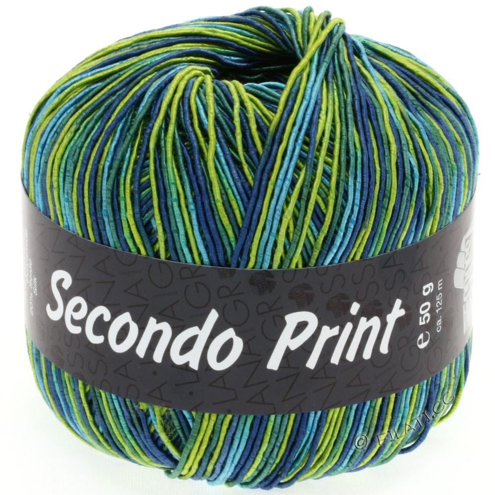Lana Grossa SECONDO Print II | 502-лайм/бирюзовый/петроль/джинс/изумрудный