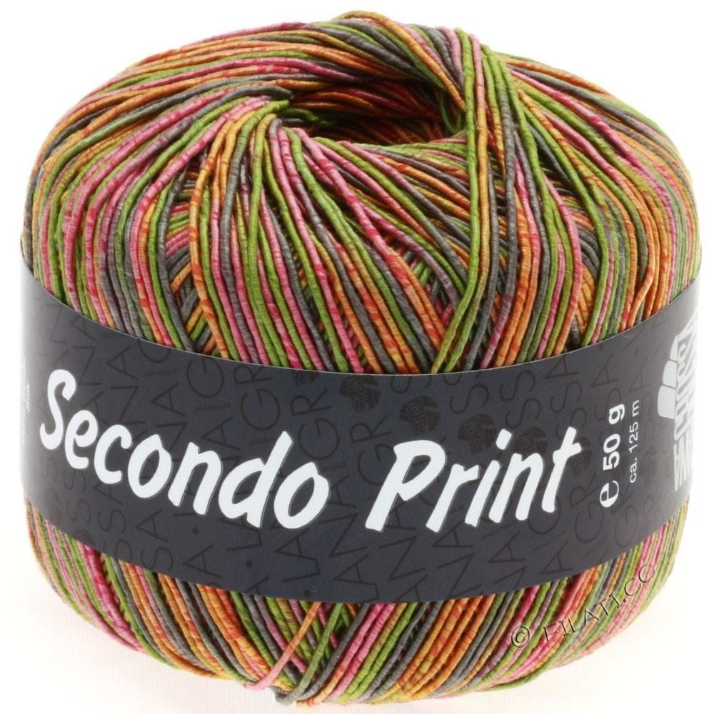 Lana Grossa SECONDO Print II | 503-оливковый/пинк/оранжевый/серо-коричневый