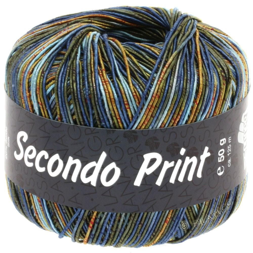 Lana Grossa SECONDO Print II | 504-светло-голубой/джинс/оранжевый/тёмно-оливковый/золотой