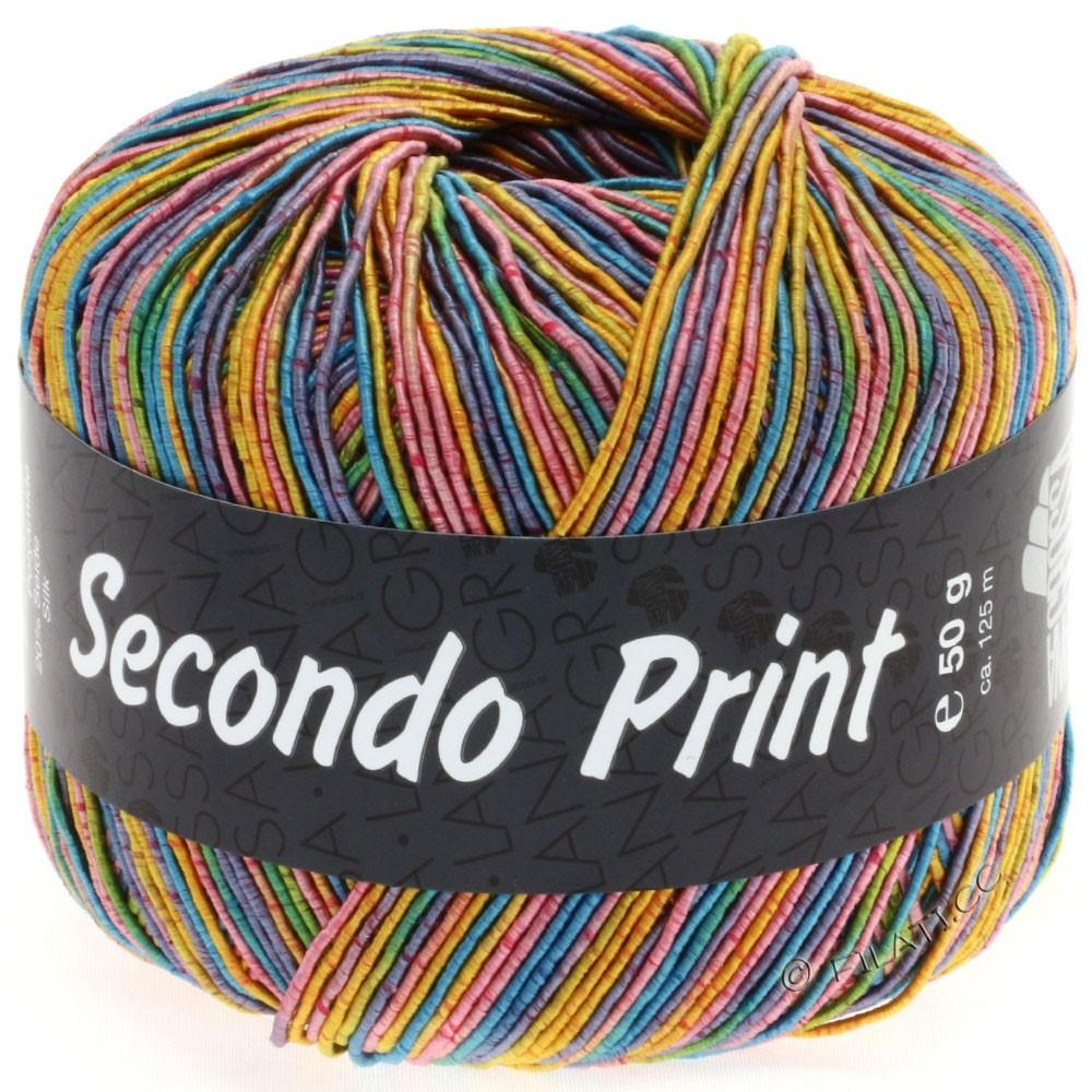 Lana Grossa SECONDO Print II | 507-пинк/золотисто-жёлтый/бирюзовый/фиолетовый