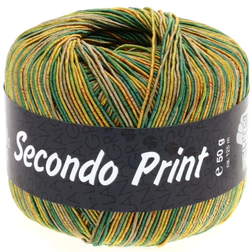 Lana Grossa SECONDO Print II | 508-золотисто-жёлтый/зелёный/тростник/оливковый