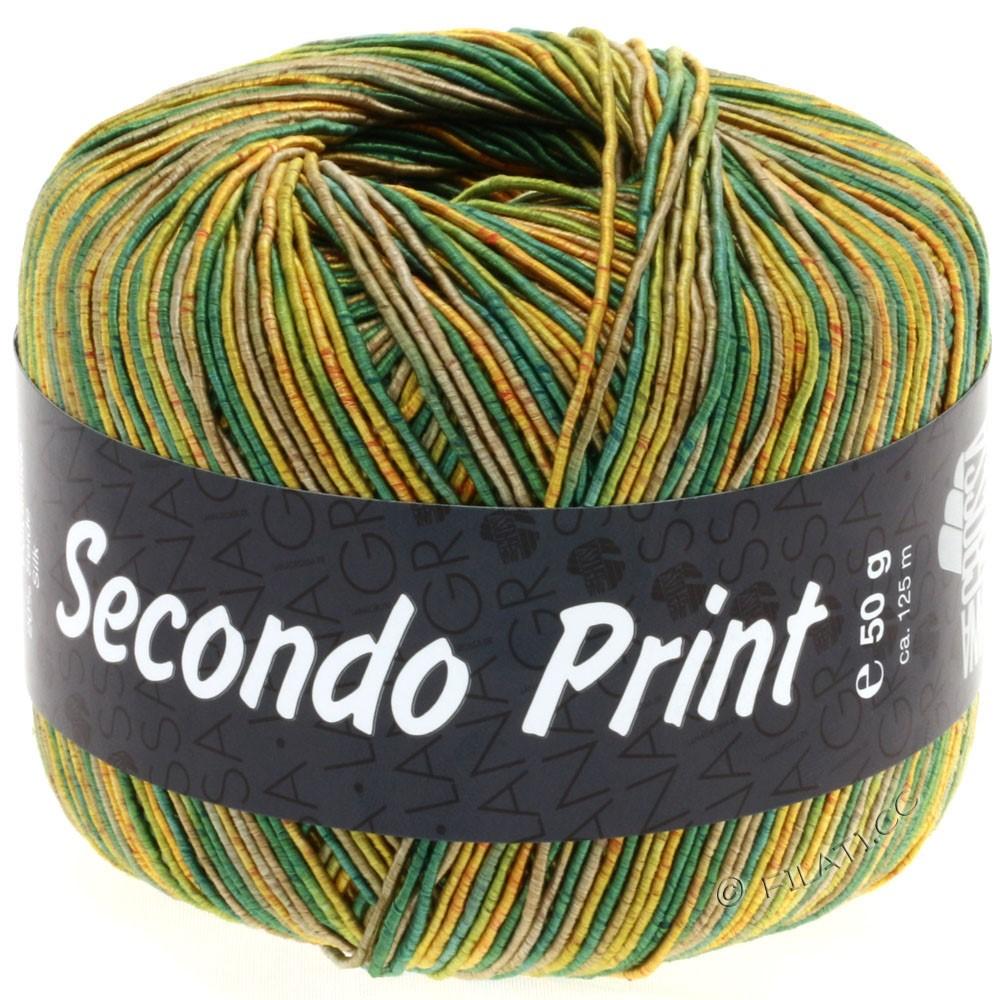 Lana Grossa SECONDO Print II   508-золотисто-жёлтый/зелёный/камышовый/оливковый