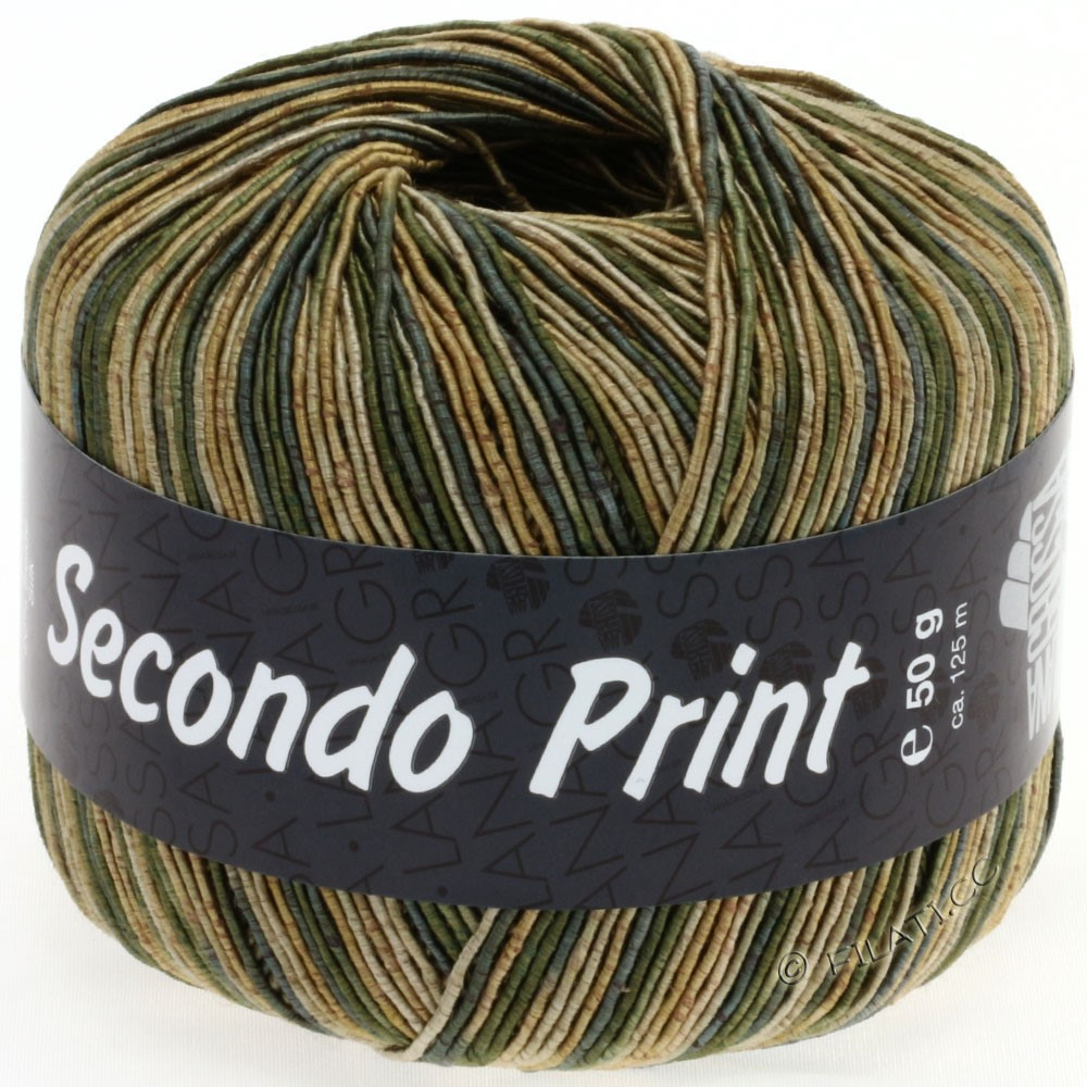 Lana Grossa SECONDO Print II | 509-золотой/серо-зеленый/бежевый
