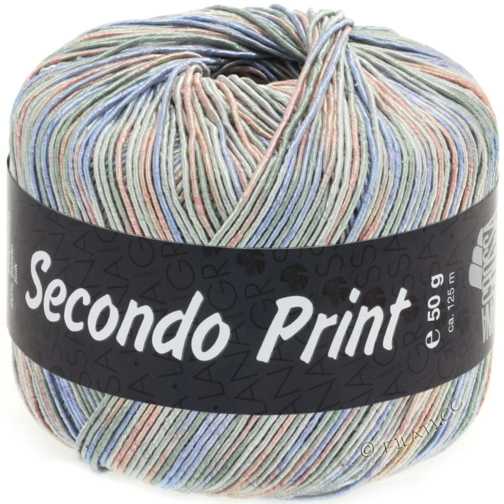 Lana Grossa SECONDO Print II | 511-светло-серый/джинс/розовый/серо-зеленый