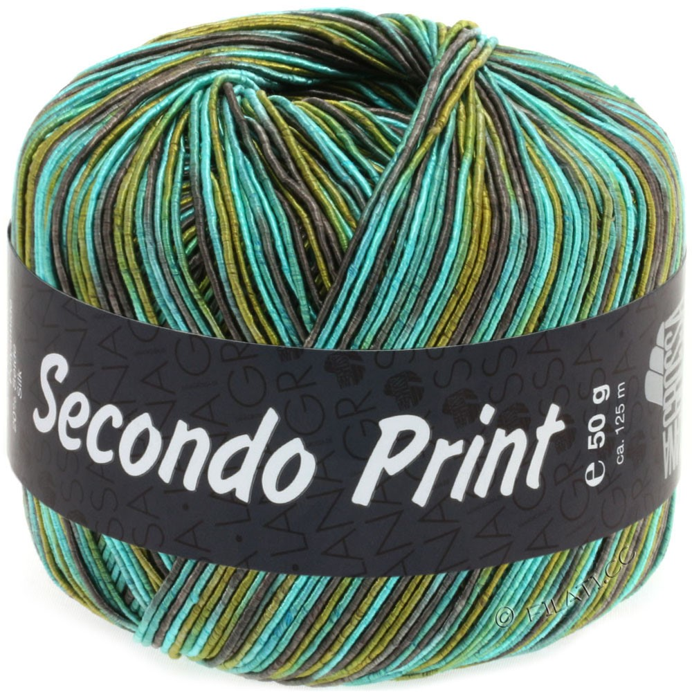 Lana Grossa SECONDO Print II | 512-изумрудный/серо-коричневый/оливковый/петроль