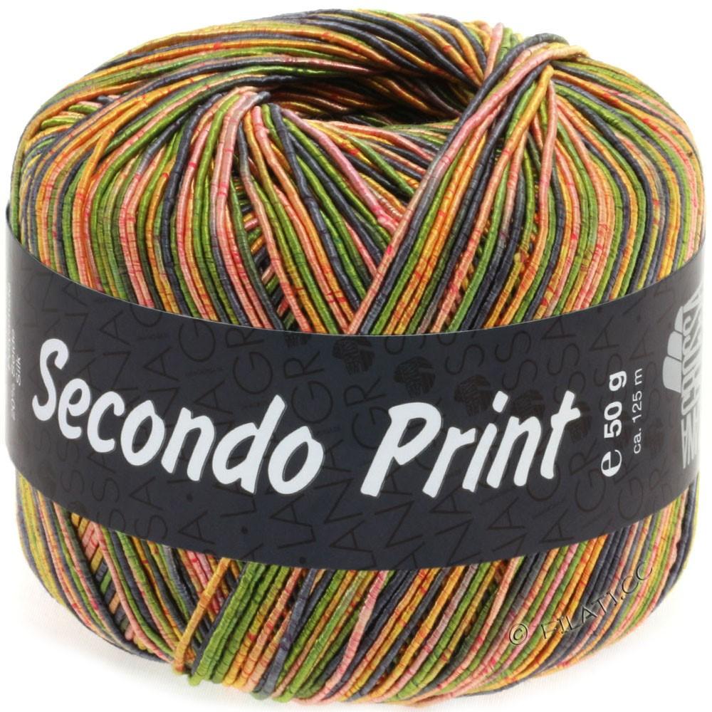 Lana Grossa SECONDO Print II | 513-оливковый/серо-синий/оранжевый/золотисто-жёлтый