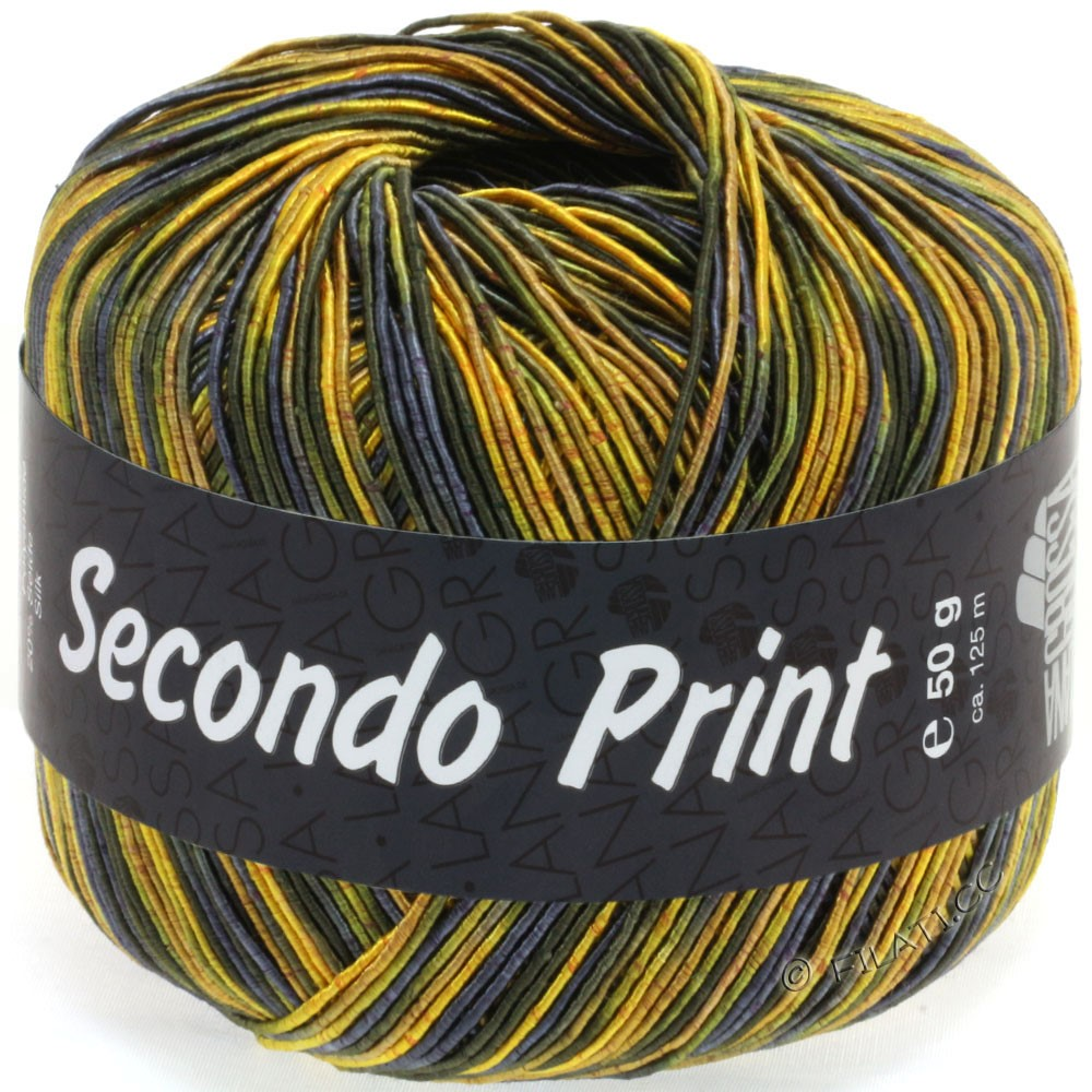 Lana Grossa SECONDO Print II | 514-жёлтый/тёмно-оливковый/тёмно-синий