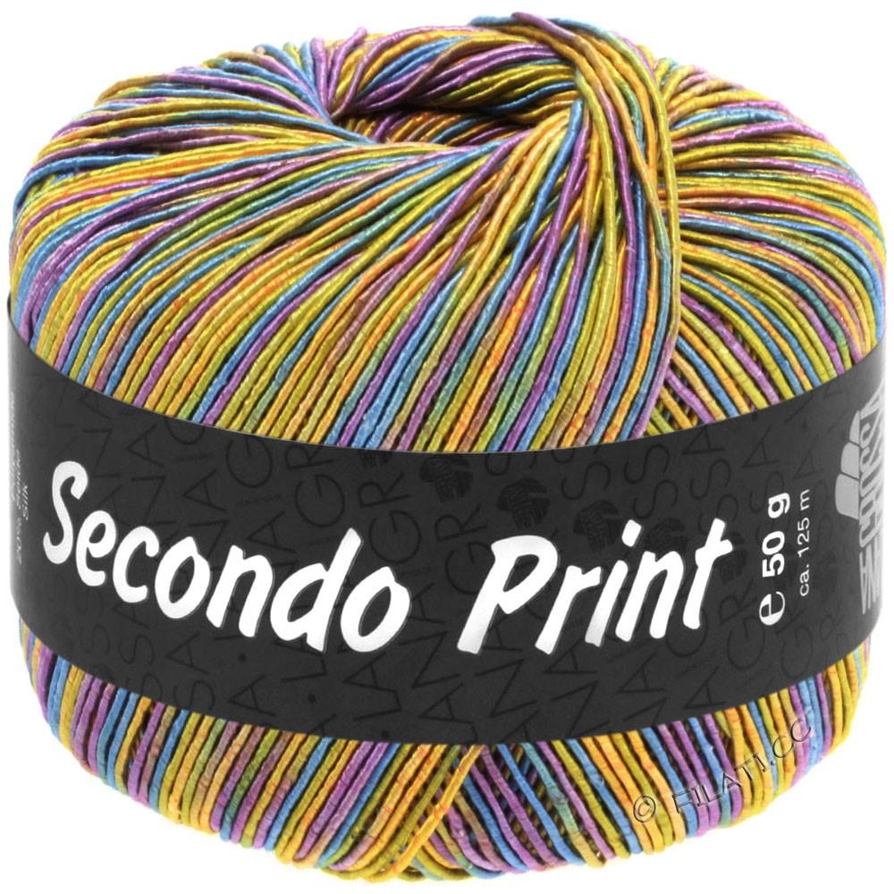 Lana Grossa SECONDO Print II | 518-абрикос/золотисто-жёлтый/сине-бирюзовый /фиолетовый