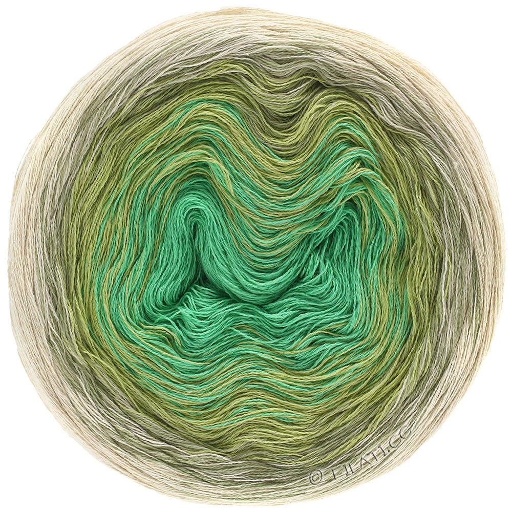 Lana Grossa SHADES OF COTTON LINEN | 706-натуральный/бежевый/тростник зеленый/нефрит