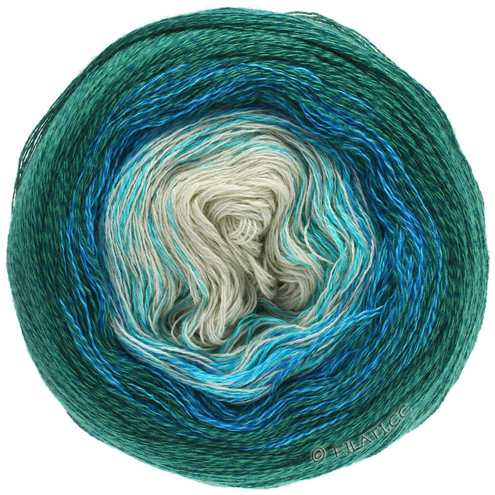 Lana Grossa SHADES OF MERINO COTTON | 401-мятно-зеленый/бирюзовый/королевский синий/изумрудный