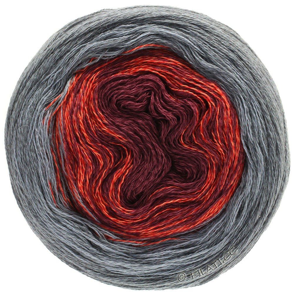 Lana Grossa SHADES OF MERINO COTTON | 405-тёмно-красный/светло-красный/серый/тёмно-серый