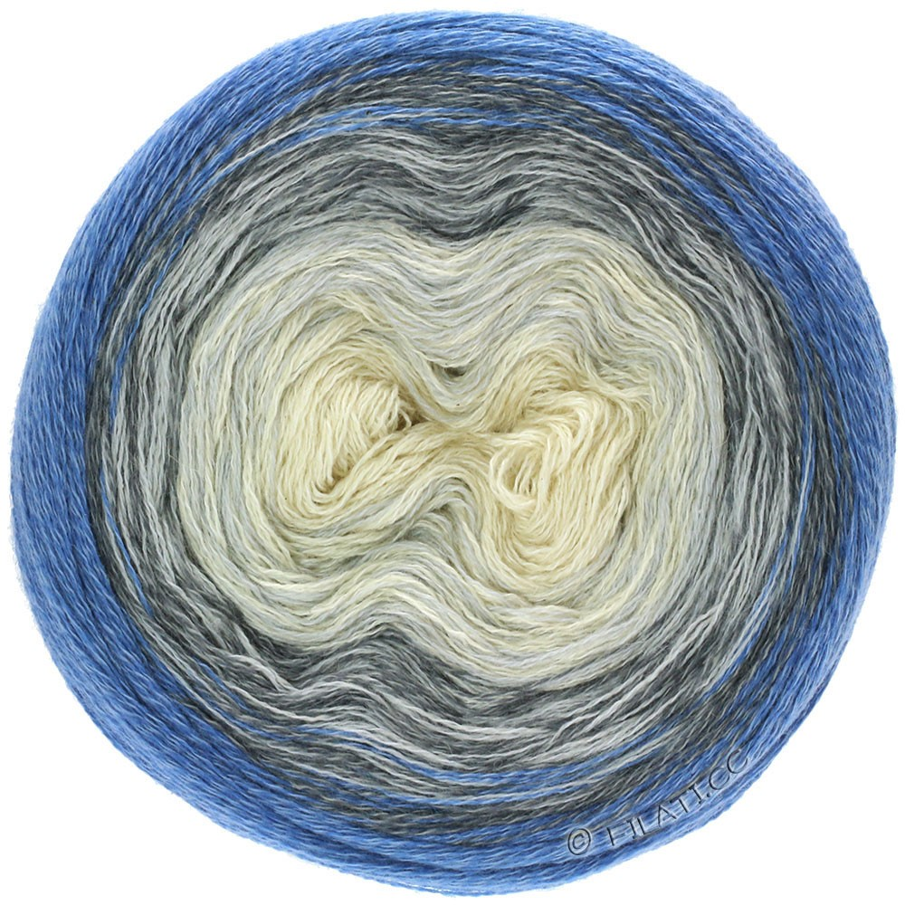 Lana Grossa SHADES OF MERINO COTTON   408-белый/серебристо-серый/серый/тёмно-серый/антрацитовый