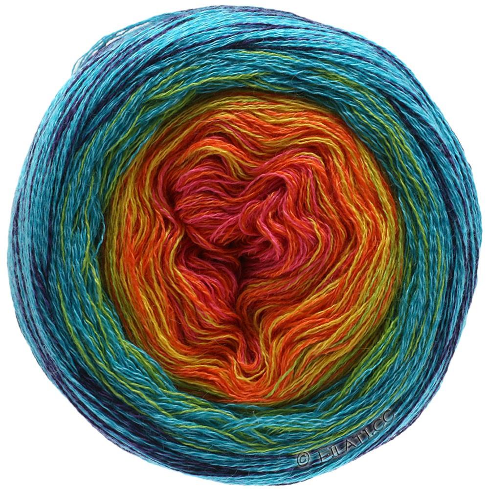Lana Grossa SHADES OF MERINO COTTON | 601-терракотовый/оранжевый/жёлтый/бирюзовый/синий