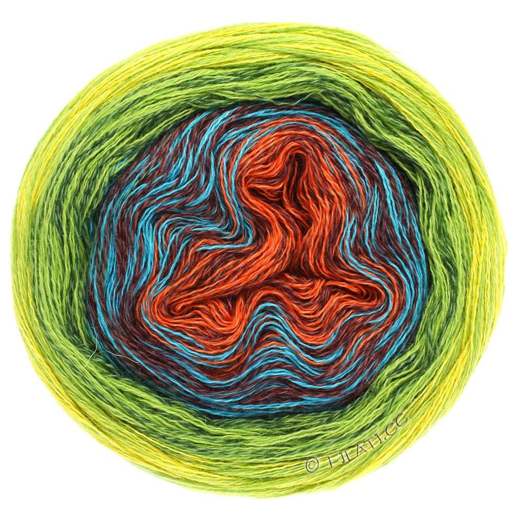 Lana Grossa SHADES OF MERINO COTTON | 602-цвет ржавчины/красно-коричневый/бирюзовый/тёмно-зелёный/светло-зелёный/жёлтый