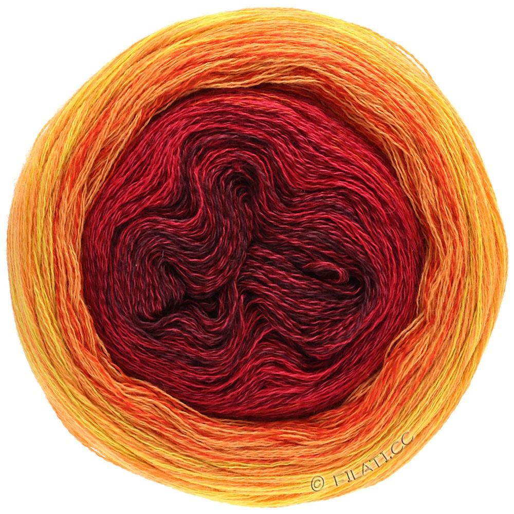 Lana Grossa SHADES OF MERINO COTTON | 603-бордо/красная вишня/красный/оранжево-красный/светло-оранжевый/жёлтый