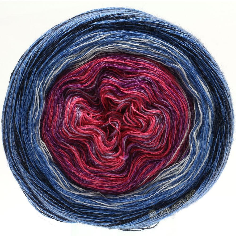 Lana Grossa SHADES OF MERINO COTTON | 604-фиолетого-розовый/фиолетовый/белый/средне-синий/синий/чёрный