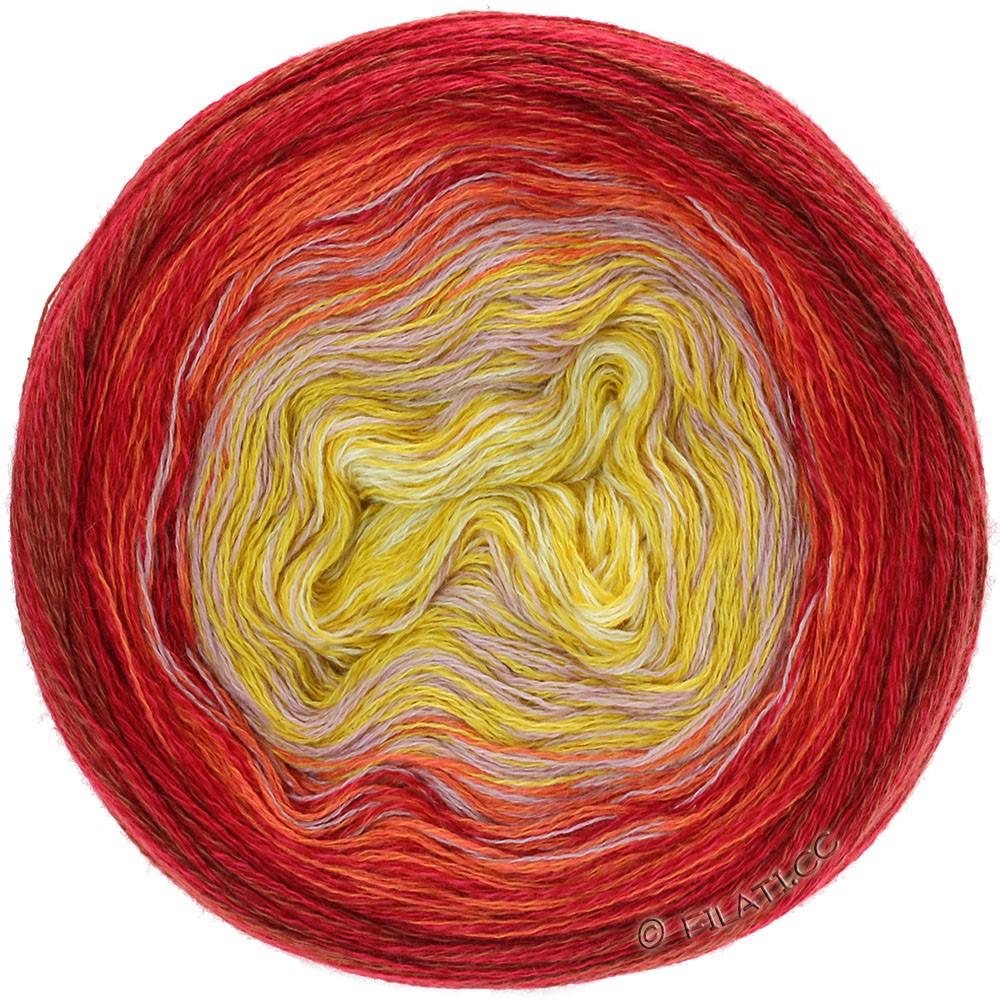 Lana Grossa SHADES OF MERINO COTTON | 607-ванильный/жёлтая кукуруза/ветхо-розовый/оранжевый/красный