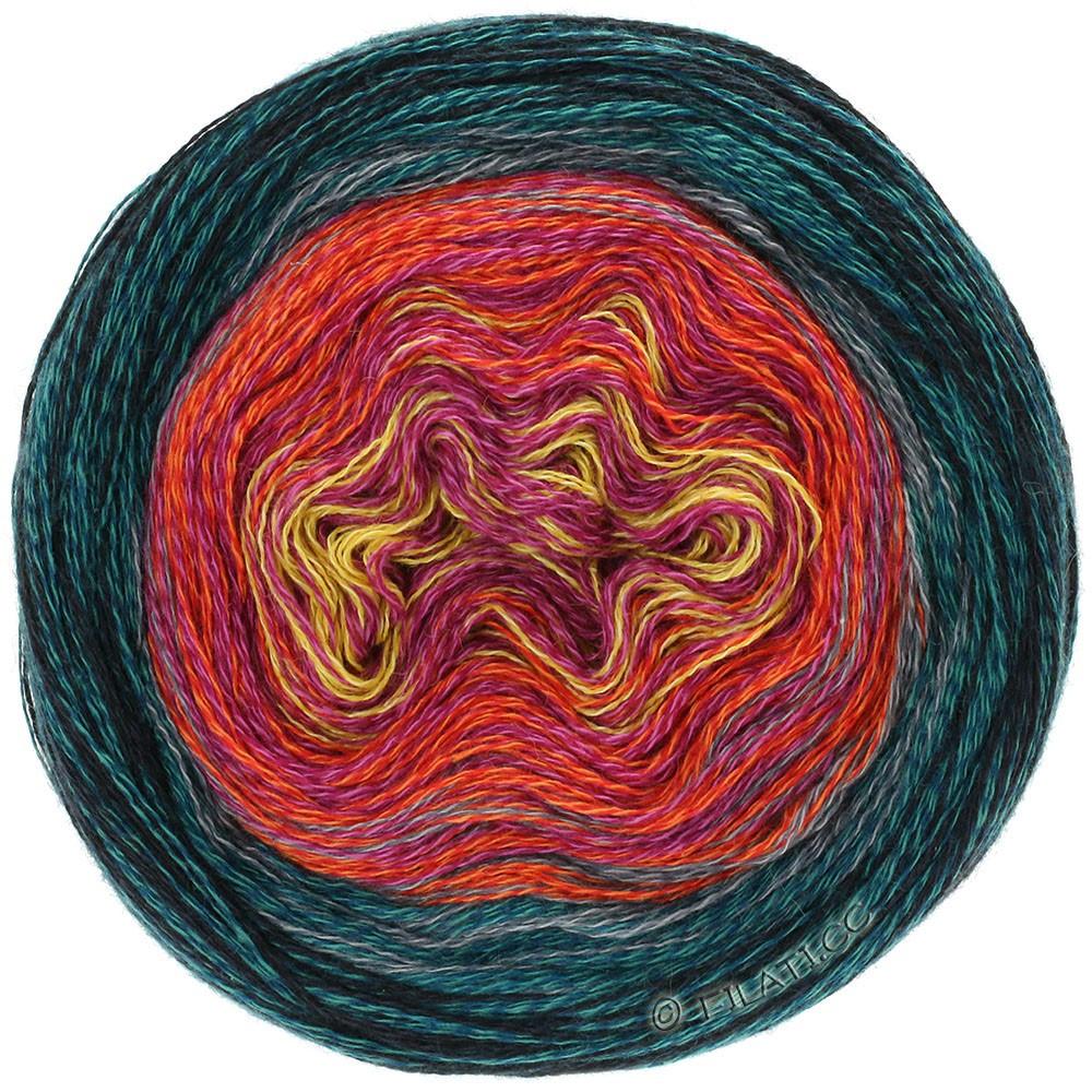 Lana Grossa SHADES OF MERINO COTTON | 608-жёлтый/пинк/красный помидор/синяя сталь/чёрный