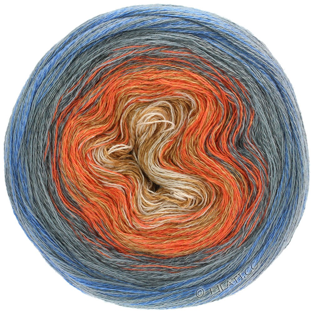 Lana Grossa SHADES OF MERINO COTTON | 609-песок/оранжевый/хаки/тёмно-серый