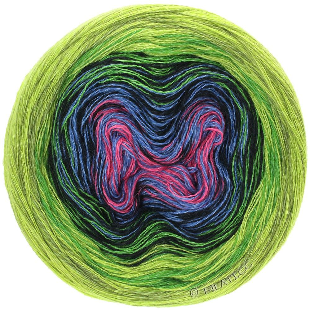 Lana Grossa SHADES OF MERINO COTTON | 610-пинк/джинс/чёрный/зеленый лист /светло-зелёный