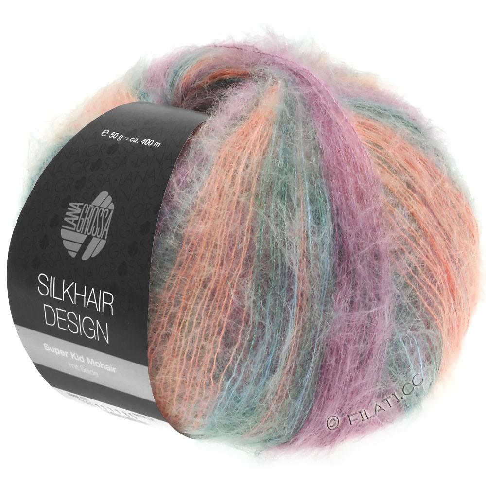 Lana Grossa SILKHAIR Design | 1001-лосось розовый/красная фиалка/жемчужно-серый/графит