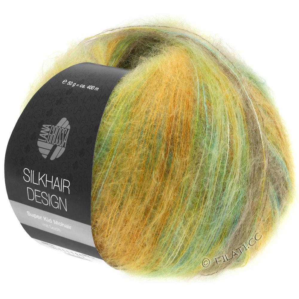 Lana Grossa SILKHAIR Design | 1002-бирюзовый/бежевый/золотой/оливковый/жёлто-зеленый