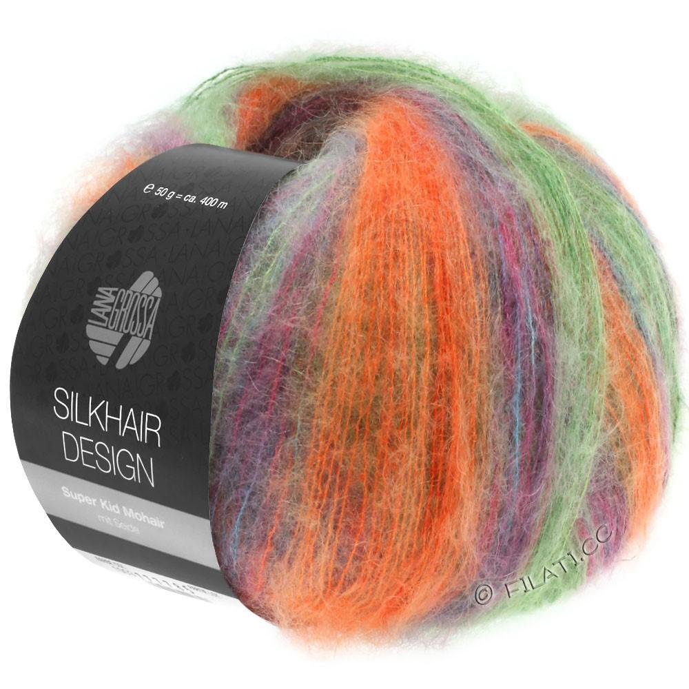 Lana Grossa SILKHAIR Design | 1005-зелёный/оранжевый/петроль/цикламеновый/ежевика