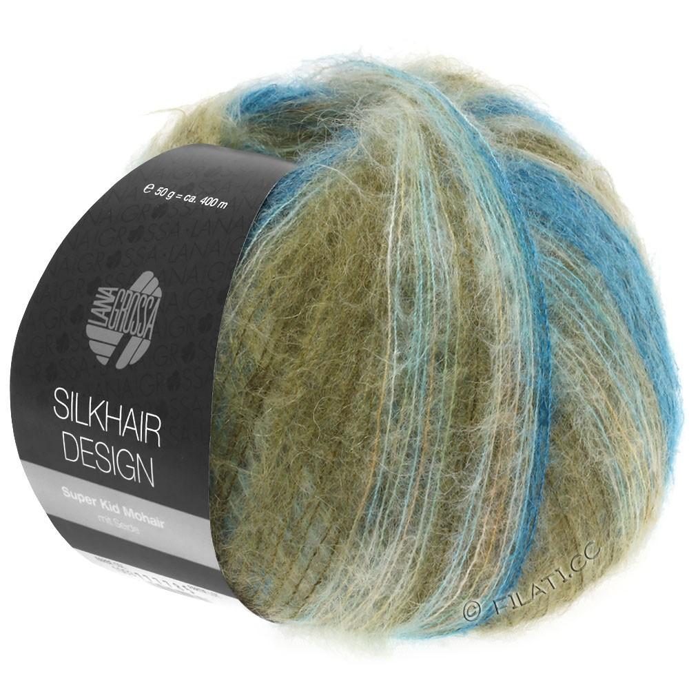 Lana Grossa SILKHAIR Design | 1006-петроль/сине-бирюзовый/хаки/натуральный/легко коричневый