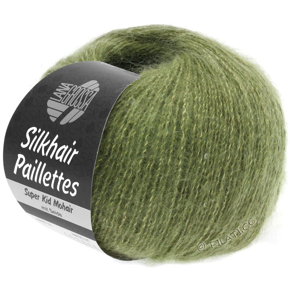 Lana Grossa SILKHAIR Paillettes | 411-зеленый хаки
