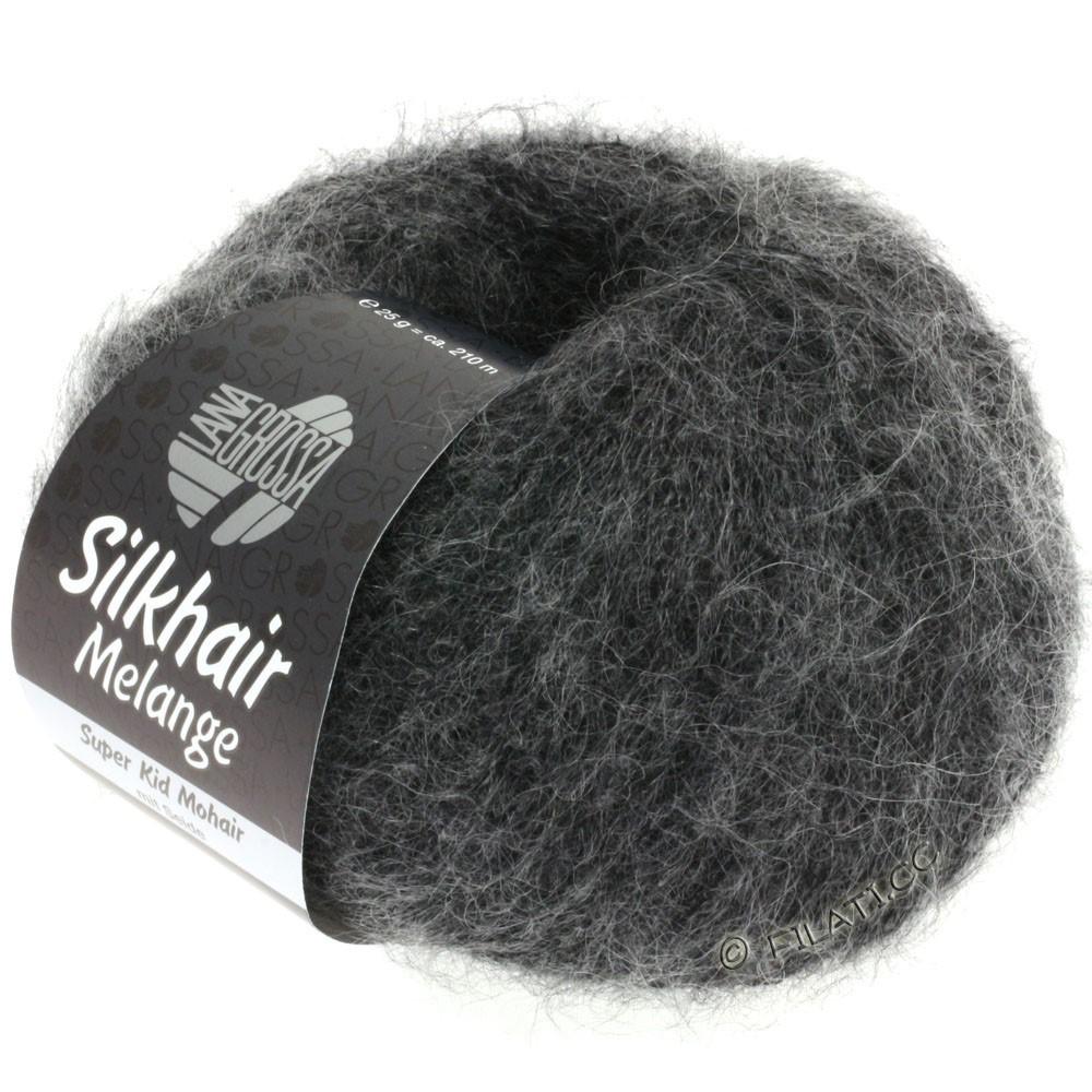 Lana Grossa SILKHAIR  Uni/Melange уни/меланж | 719-чёрный/серый меланжевый