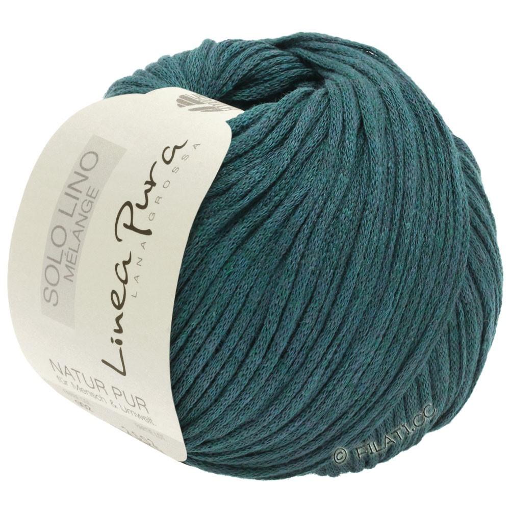 Lana Grossa SOLO LINO MELANGE (Linea Pura) | 114-тёмно сине-зеленый меланжевый