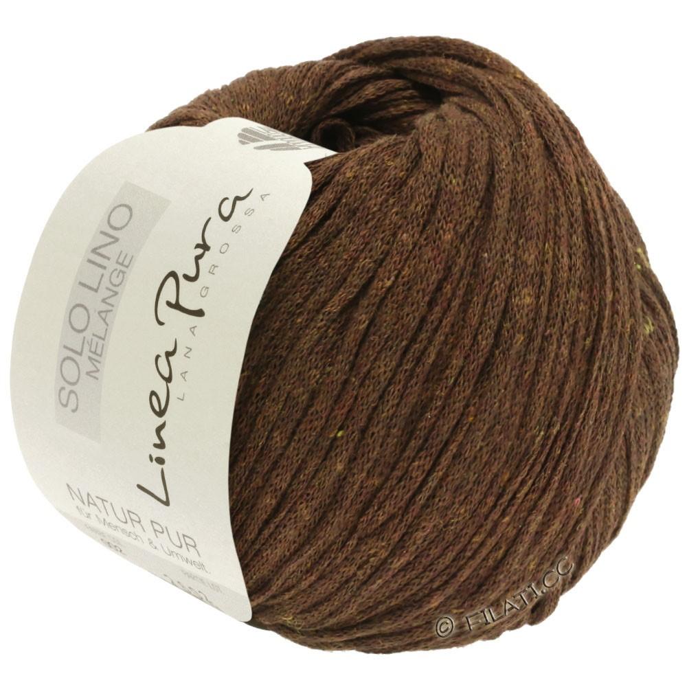 Lana Grossa SOLO LINO MELANGE (Linea Pura) | 117-тёмно-коричневый меланжевый