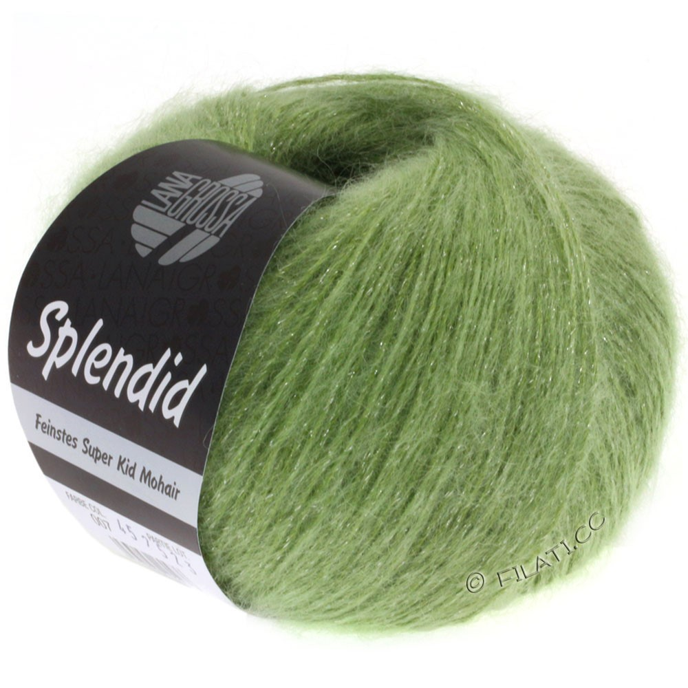 Lana Grossa SPLENDID | 09-светло-зелёный/серебряный