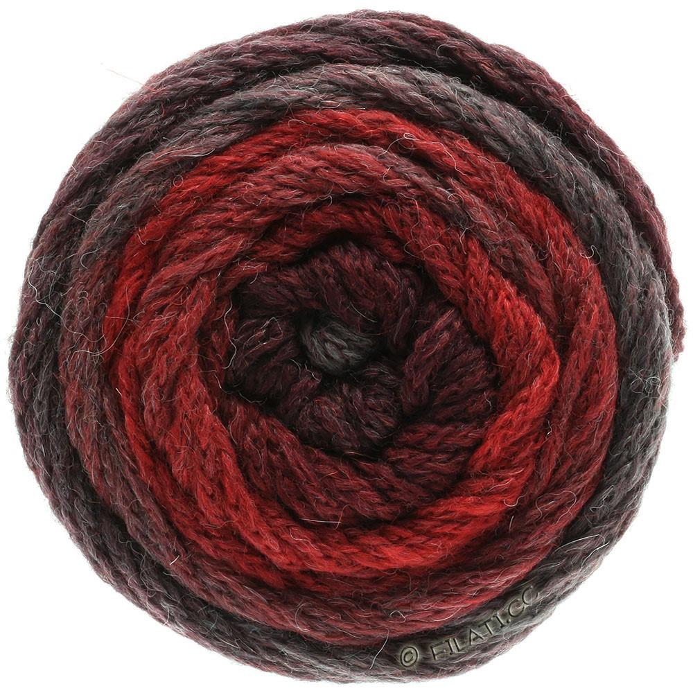 Lana Grossa SUPER COLOR | 112-кирпично-красный/чёрно-красный/серо-красный
