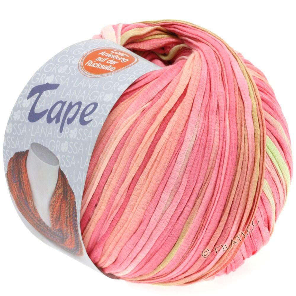 Lana Grossa TAPE (McWool) | 101-лосось розовый/гвоздика/жёлто-зеленый