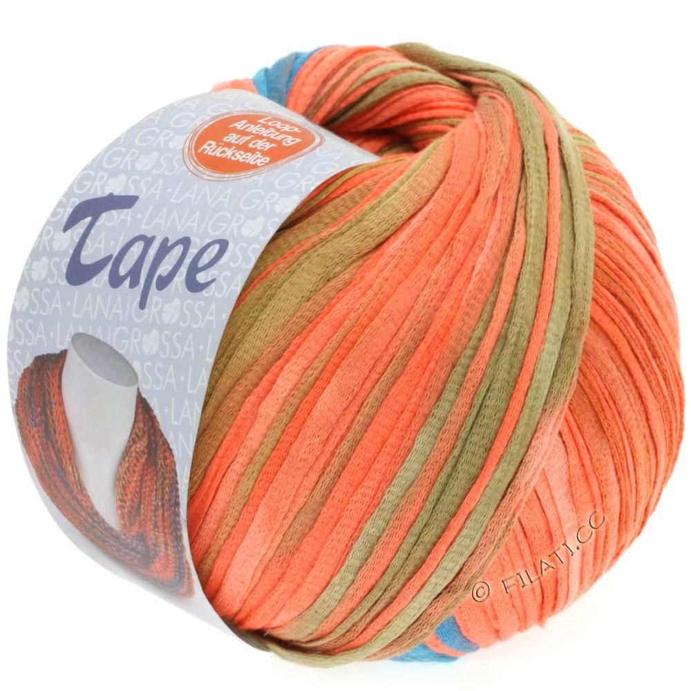 Lana Grossa TAPE (McWool) | 105-лососевый/серо-синий/ветхо-розовый