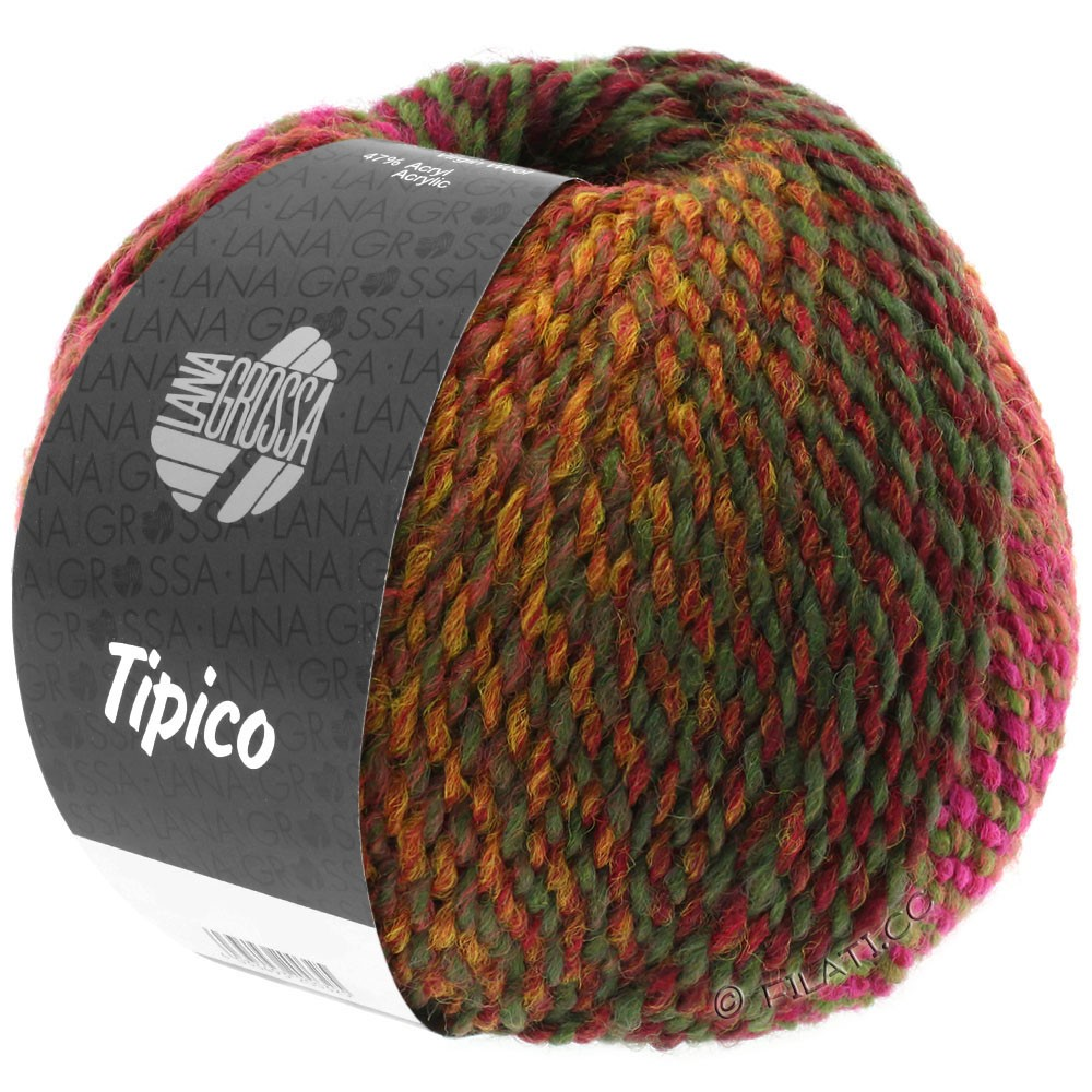 Lana Grossa TIPICO | 02-кирпично-красный/бордо/коричневый/хаки