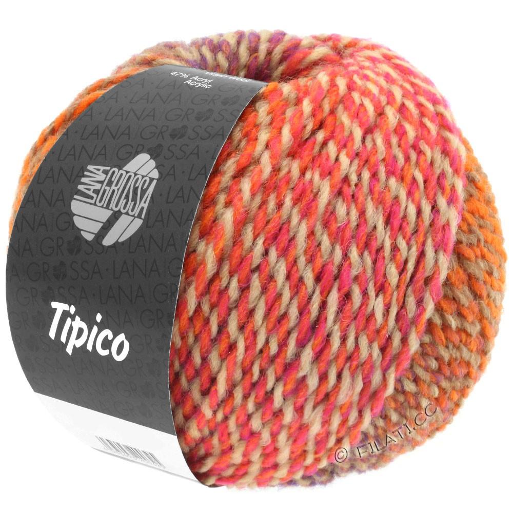 Lana Grossa TIPICO | 03-оранжевый/легко коричневый/розовый/красный помидор