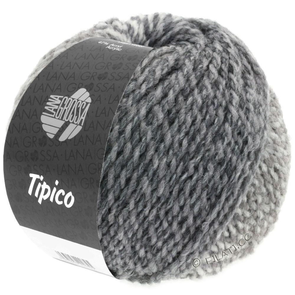 Lana Grossa TIPICO | 05-белый/светло-серый/тёмно-серый