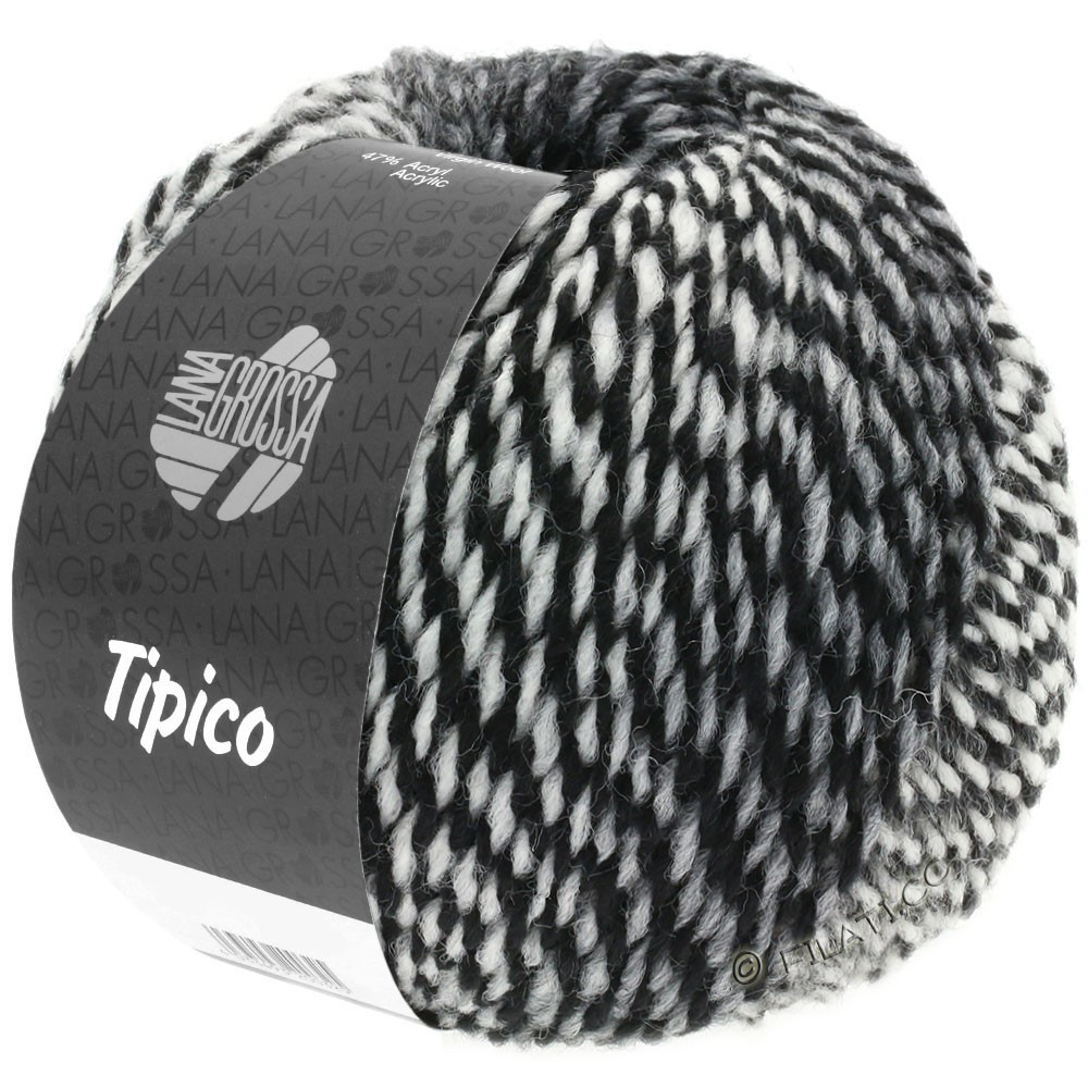 Lana Grossa TIPICO | 07-белый/серый/чёрный