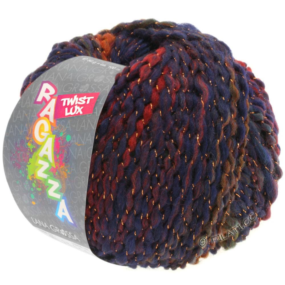 Lana Grossa TWIST Lux (Ragazza)   103-синий/оливковый/красно-коричневый/темно-зеленый/медь