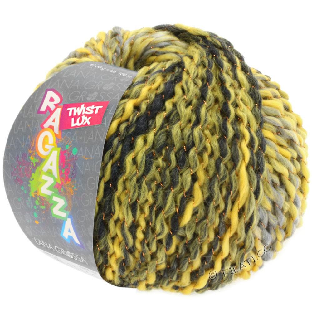 Lana Grossa TWIST Lux (Ragazza)   105-жёлтый/светло-серый/тёмно-серый/медь