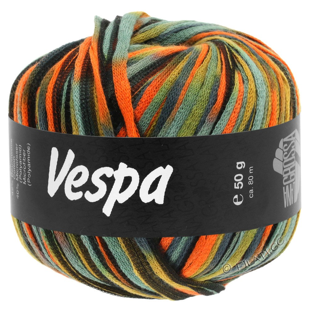Lana Grossa VESPA | 103-оранжевый/бежевый/серо-голубой/чёрный