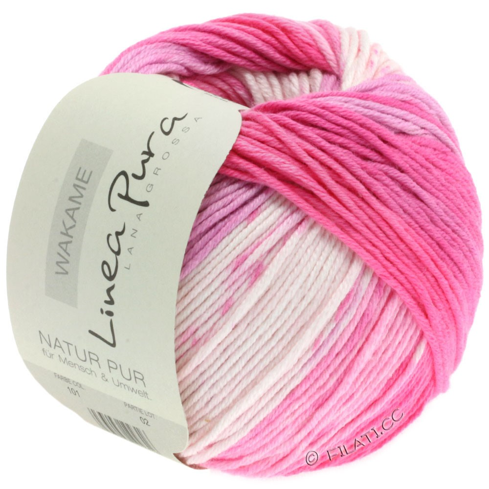 Lana Grossa WAKAME Uni/Print уни/принт (Linea Pura)   101-белый/розовый/пинк